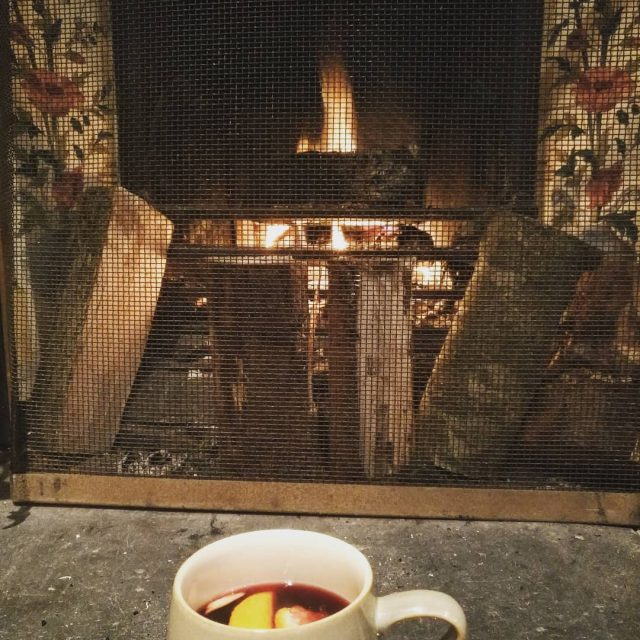 Cosy fire amp mulled wine